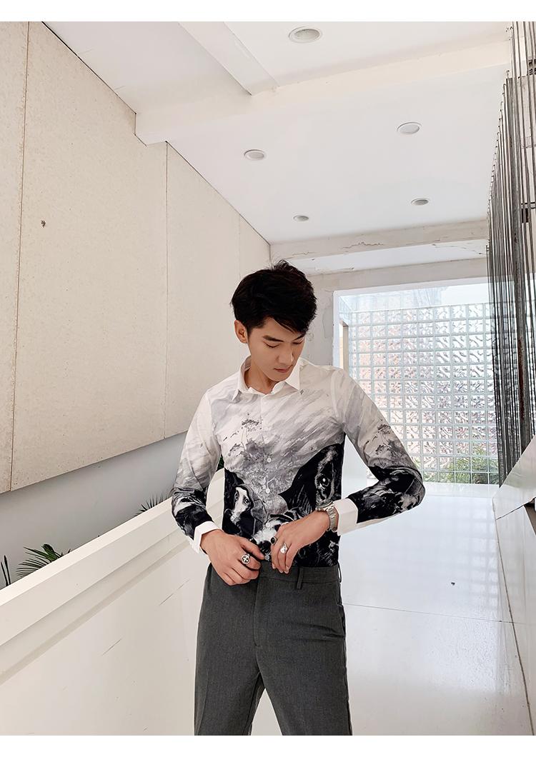 Horizon men's four seasons cotton straight spray animal print slim personality shirt long-sleeved casual shirt youth 46 Online shopping Bangladesh