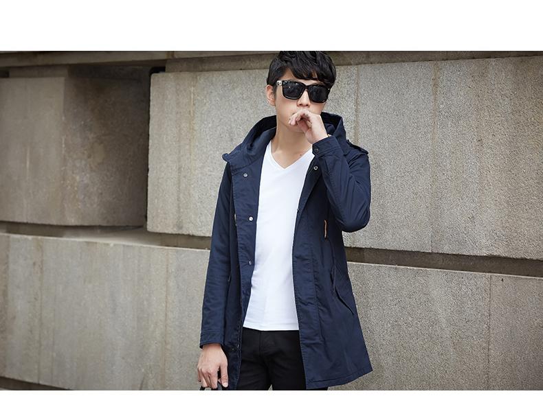 Áo gió nam áo khoác mùa thu và xu hướng mùa đông 2017 mới của Hàn Quốc phiên bản của phần dài của mùa xuân trang trí cơ thể đẹp trai cá tính hoang dã mỏng