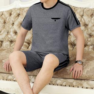 爸爸运动套装男夏季圆领短袖短裤中老年运动服套装男士跑步运动装
