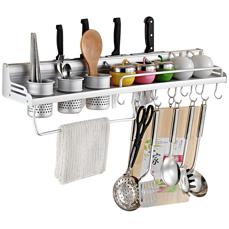 太空铝厨房置物架壁挂免打孔收纳刀架挂件厨具用品调味品调料架子