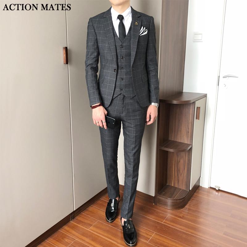 韩版修身结婚新郎职业礼服格子三西服秋季套装休闲件套小西装男士