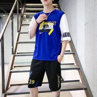 网红韩版男士短袖T恤短裤休闲两件套