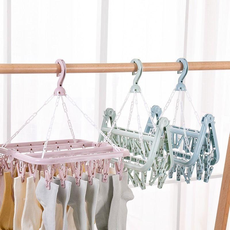 折叠晾衣架成人防风塑料衣架内衣袜子夹