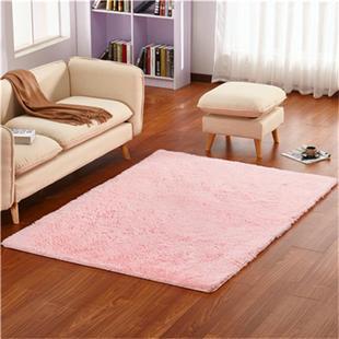 可爱粉色长毛地毯卧室满铺茶几垫