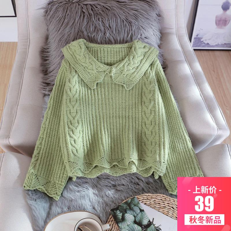 娃娃领毛衣女套头2019秋冬新款日系甜美宽松慵懒风短款针织衫外穿