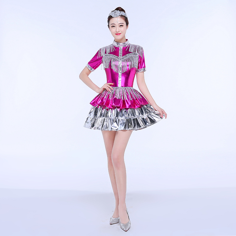 Jazz Dance Costumes Jazz Dance Costume Female Modern Dance Costume Short Skirt Sequins Adult Performing Costume Stage Sexy Suit