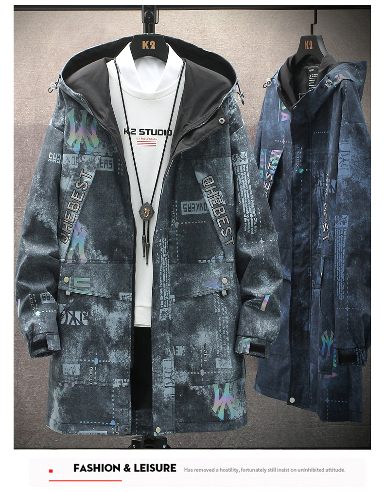 Windshield men's medium-length 2020 autumn/winter new plus-down Korean version trend autumn jacket casual work jacket 34 Online shopping Bangladesh