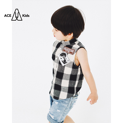 Yue Yue home original children's summer boy plaid vest Korean children's cotton collar sleeveless shirt male baby