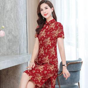 夏季中老年妈妈装气质旗袍短裙