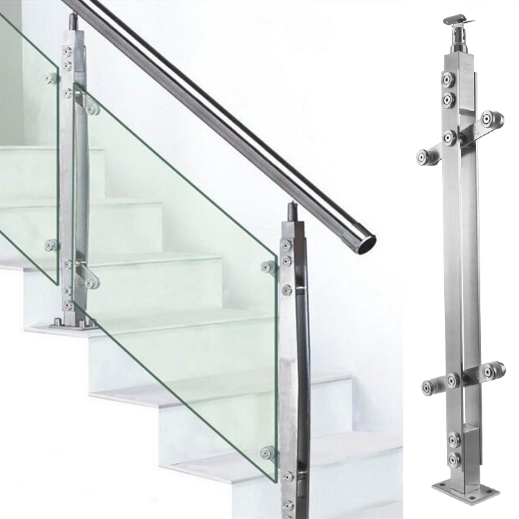 304 Stainless Steel Staircase Railing Railing Glass Balcony Guardrail  Column Gold Factory Direct Sales
