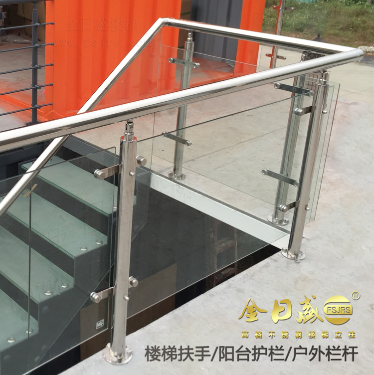 Stainless Steel Round Pipe Column Stair Fence Platform Guardrail Balcony  Railing Glass Handrail Column Accessories