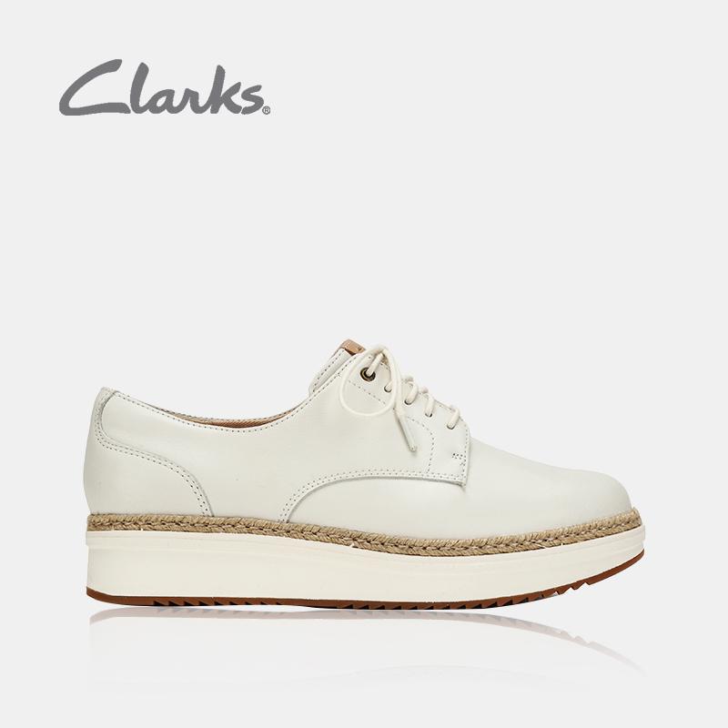 clarks其樂女鞋18秋季英倫厚底松糕小白鞋單鞋女Teadale Rhea