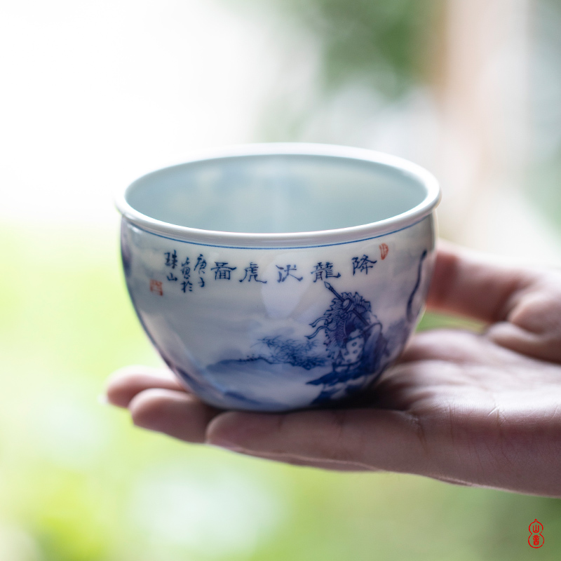Hall of the main behind jiang xiang xiao bamboo up cylinder of jingdezhen blue and white master single hand - made ceramic cups cup