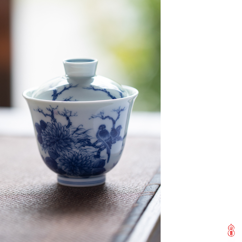 Poly real rings tureen jingdezhen blue and white two hand - made hall and flowers and birds to make tea tureen single bowl bowl