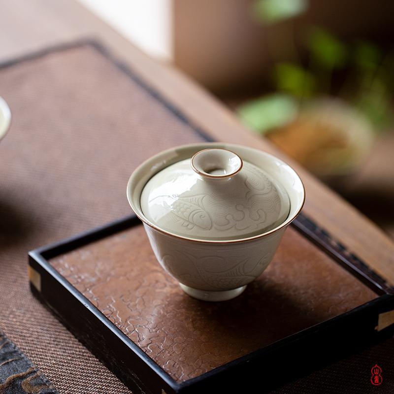 Sprawling up with seawater fish grain tureen jingdezhen ceramic high - end 2 to make tea tureen single bowl bowl