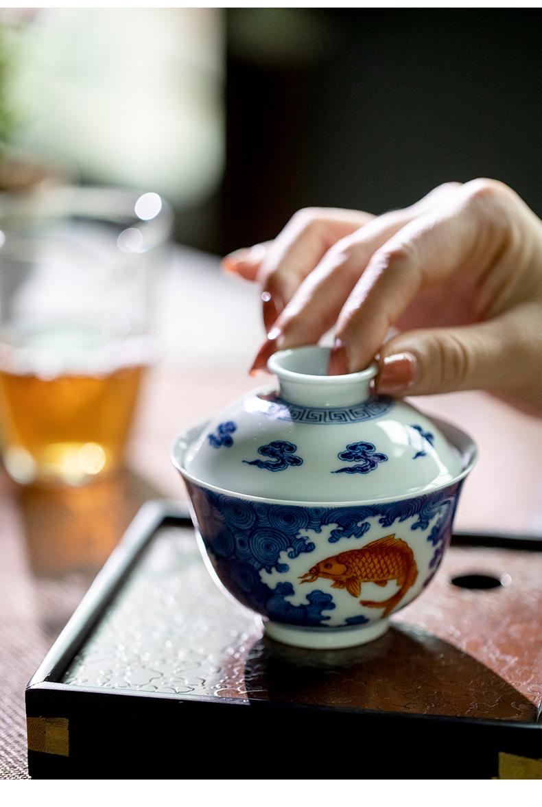Qin Qiuyan color blue and red sea grain tureen 150 ml of jingdezhen ceramics by hand to tureen tea bowls