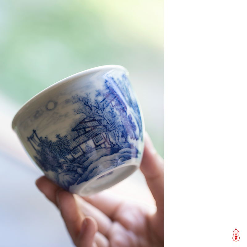 """Castle peak day room the month """"according to the atrium hand - made porcelain cups of jingdezhen ceramics sample tea cup high - end kung fu tea cup"""