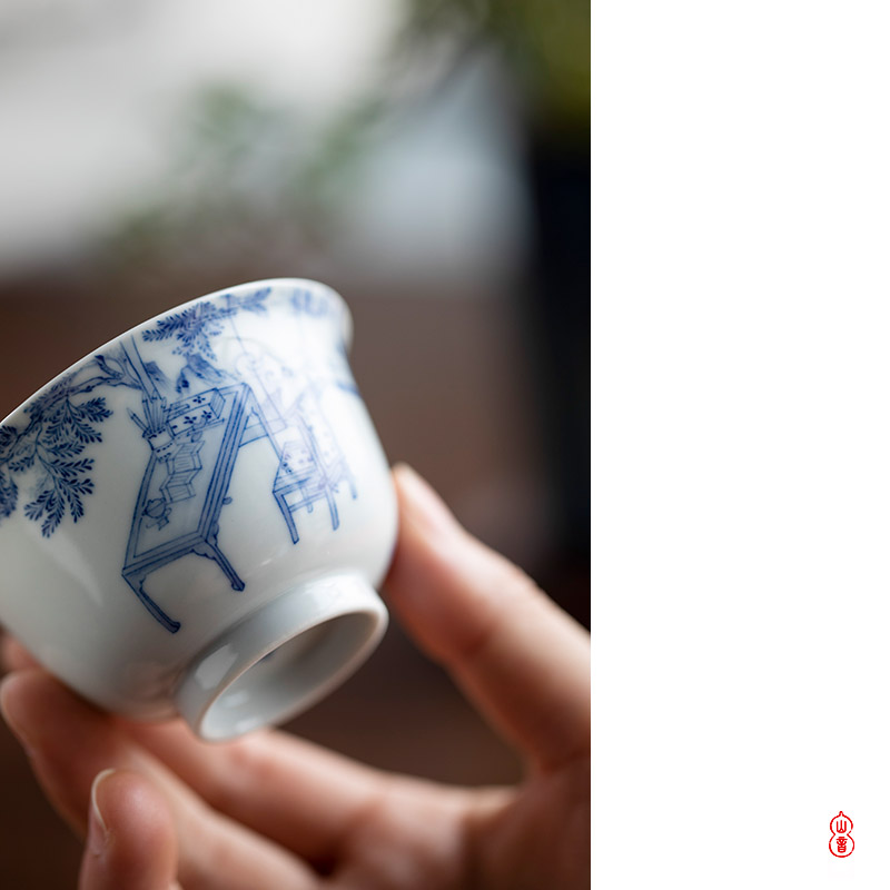 After the rain no matter meditation of jingdezhen hand - made porcelain master cup personal special ceramic sample tea cup