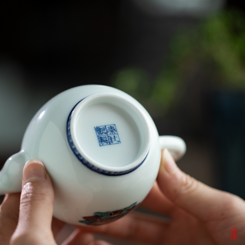 Qin Qiuyan color paint double ji peony pattern maker 200 ml of jingdezhen ceramic teapot single pot of the teapot