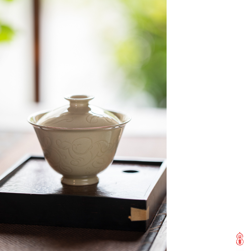 Sprawling up with camellia baby play tureen jingdezhen ceramic high - end 2 to make tea tureen single bowl bowl
