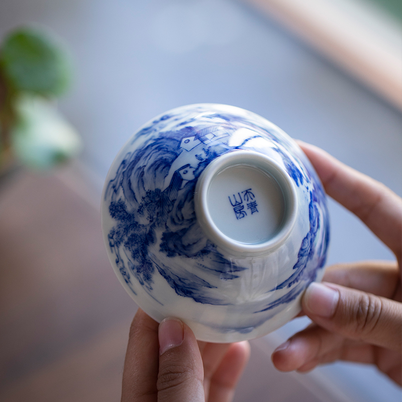 Days of blue green room at lushan waterfall of jingdezhen ceramic cups high - end kung fu master cup single CPU