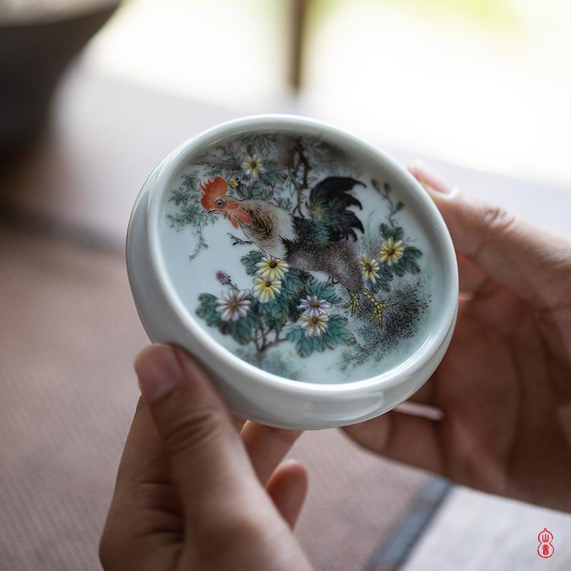 Wen - hua liu pastel chicken fine tougue place jingdezhen ceramic manual cover rear cover kung fu tea tea accessories
