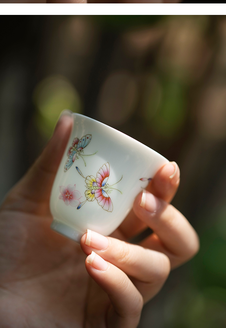 Sound recent mountain flora of jingdezhen pure manual painting master sample tea cup ceramic cup kung fu tea cups