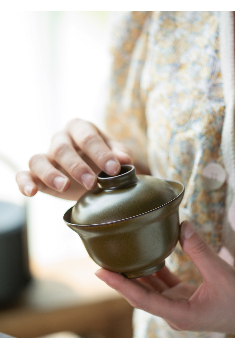 Jingdezhen checking tea at the end of the second to count a single bowl tureen tea bowl of high - end kung fu tea set