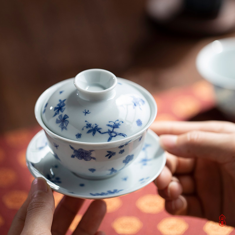 After the rain the rain fly dream tureen jingdezhen blue and white only three hand - made tureen single bowl tea bowl
