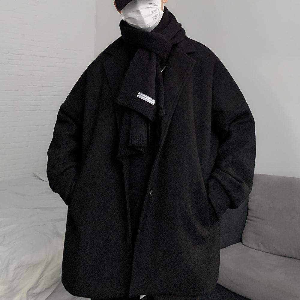 外套新款韩国原宿BF风中长款大衣秋冬复古宽松v外套毛呢呢子男女潮