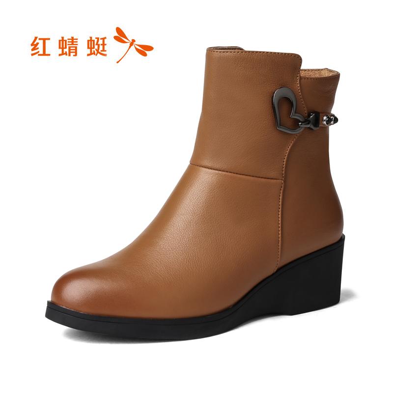 红蜻蜓真皮短靴冬季皮靴清仓短筒女靴百搭坡跟新品女女靴断码通勤