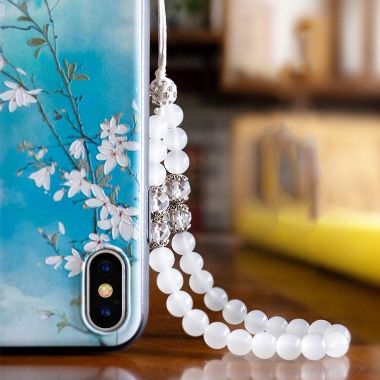 手机挂绳女短款手腕绳带水晶玉珠链条