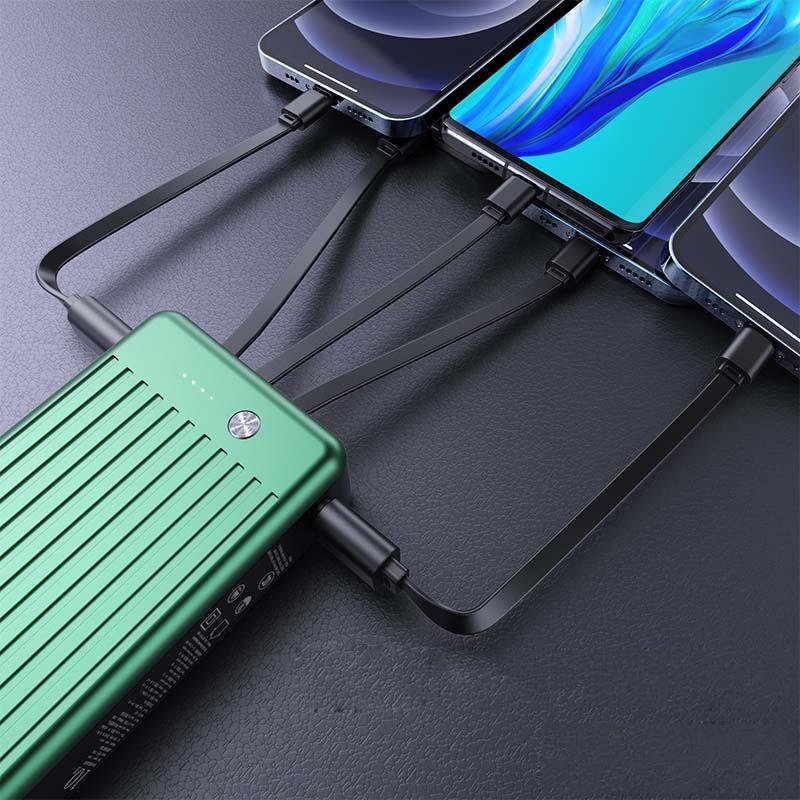日本slub充电宝20000毫安自带数据线三合一插头大容量专适用于苹果华为vivo小米oppo手机便携移动电源非快充
