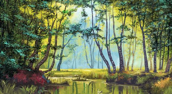 [手绘]-林中小湖