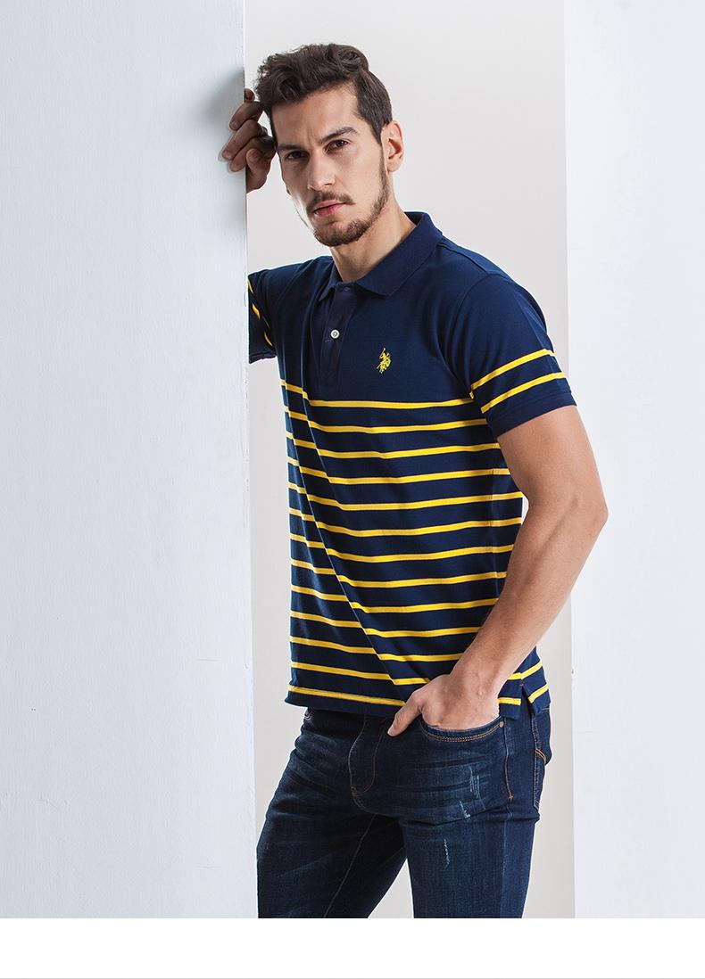 Mỹ polo ass. Nam ngắn tay giản dị polo áo xu hướng mới mỏng thường ve áo sọc t- shirt áo polo nam