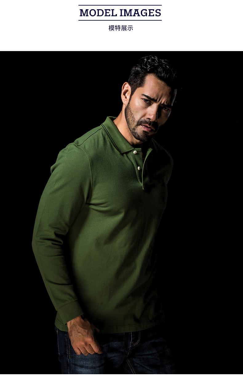 Dài tay polo áo sơ mi nam xu hướng mới mùa xuân thanh niên cotton kinh doanh bình thường màu rắn ve áo dài tay t-shirt nam áo thun tay dài nam cao cấp