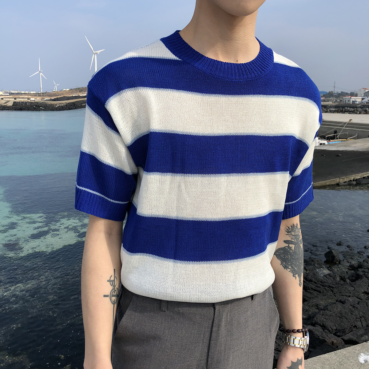 7b69f3c4d4 South Korea men's beach holiday wind Round neck hedging loose ...