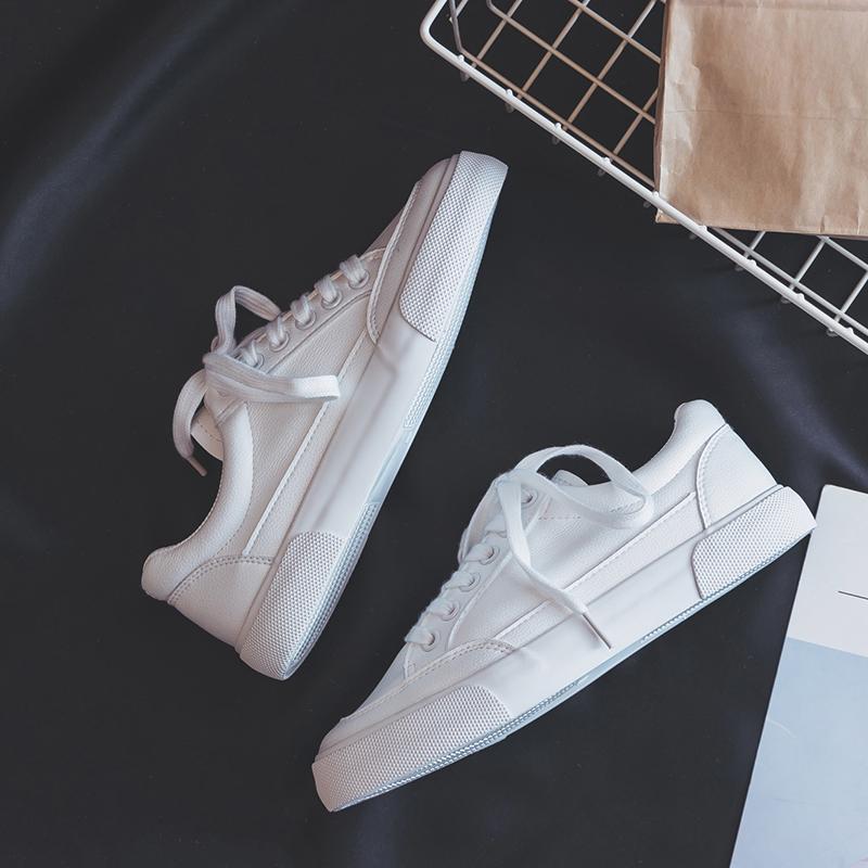 2018冬季新款基础小白鞋女韩版百搭平底加绒板鞋秋季皮面学生白鞋