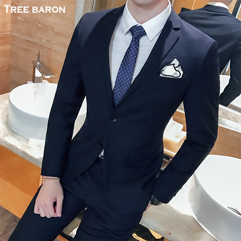 Double buckle navy blue two-piece suit (top + pants)