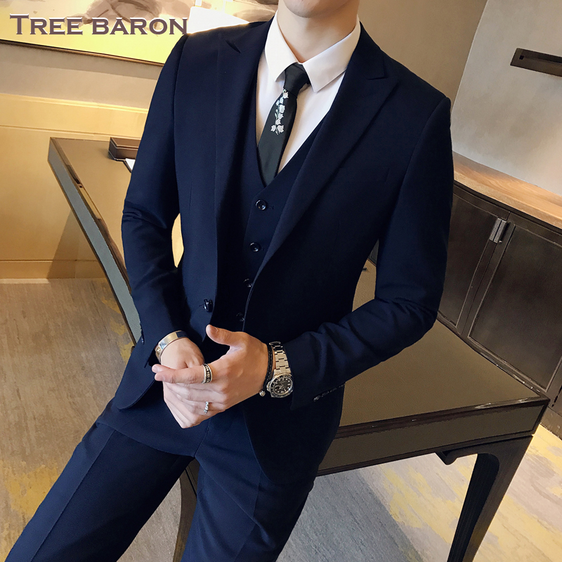 Double buckle navy blue three-piece suit (top + vest + pants)