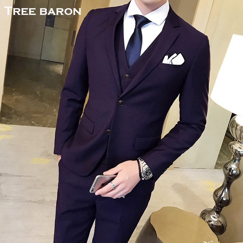 Three-button violet three-piece suit (top + vest + pants)