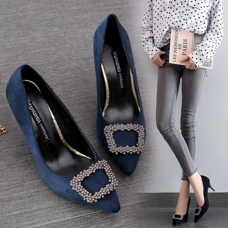 欧美秋季尖头细跟女鞋中跟单鞋