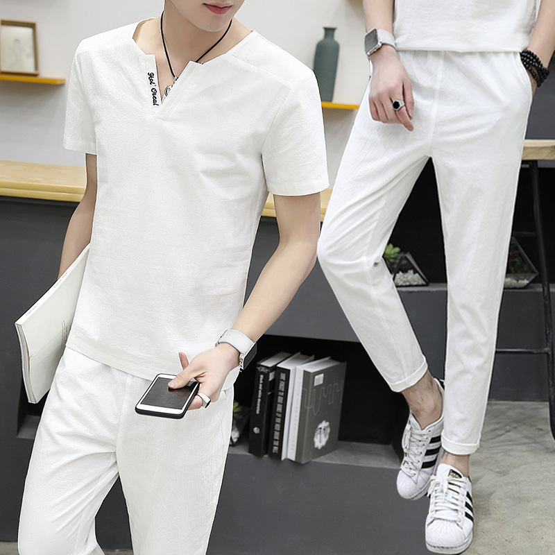 Summer shorts linen suit men's casual trend short-sleeved 2019 New men's summer cotton and linen wear two-piece suit