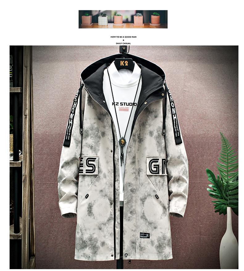 Medium-length windcoat jacket men's 2020 new teen Korean version trend plus velvet plus thick autumn and winter jacket top 45 Online shopping Bangladesh