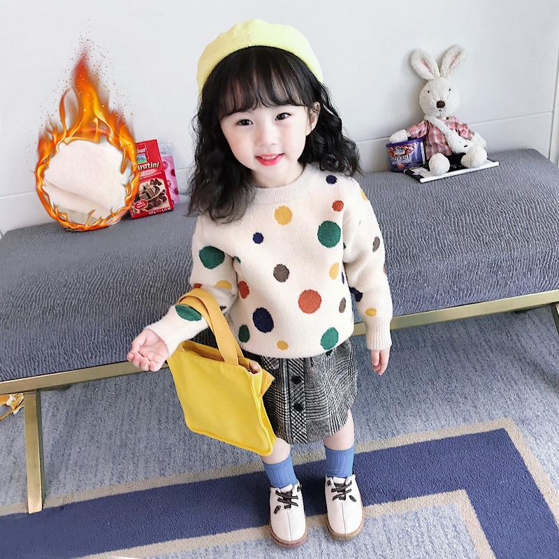 2020冬装新款女童毛衣洋气儿童套头加绒加厚套头中大童针织衫女孩