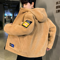 2019 autumn and winter new men's cotton-padded jacket Korean version of the trend of lamb plush jacket winter plus velvet thick padded jacket