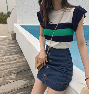 New summer was thin coat breastfeeding postpartum stripe sleeveless ice silk sweater fashion flounced out breastfeeding clothes