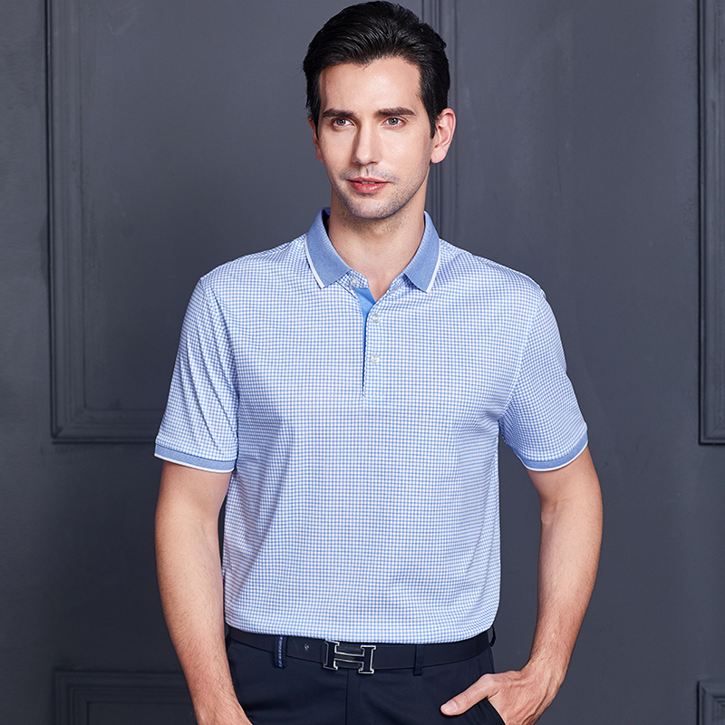 018e8d3b58f Youngor youngor men s short-sleeved T-shirt summer thin cotton blue plaid  middle-aged POLO shirt