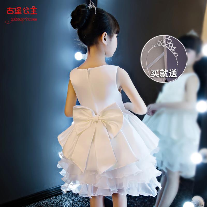 公主裙女童春夏蓬蓬纱钢琴礼服小主持儿童走秀生日白色v公主花童裙