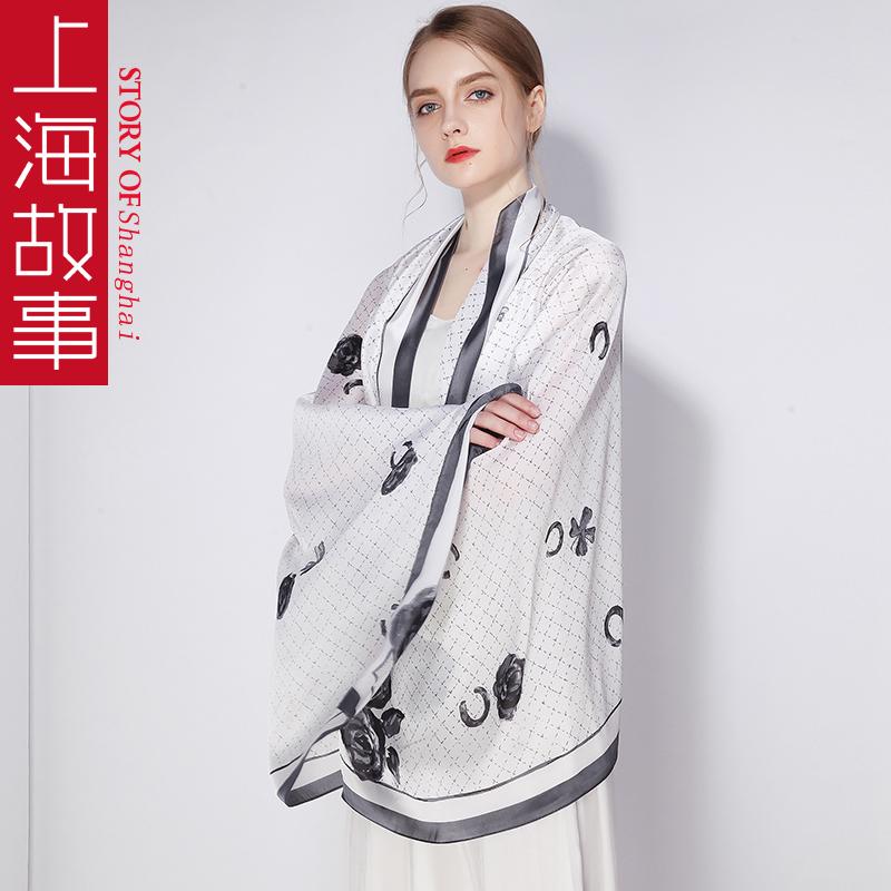 上海故事旗舰店丝巾女冰丝纱巾长款夏季粉色长条围巾夏天薄款披肩